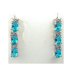 Simple Small Fashion Jewellery, Blue Oval Crystal CZ Dainty Drop Costume Earrings