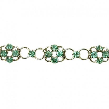 Simple Costume Jewellery Bracelets Accessories, Women Girls Dainty Gift, Light Blue Diamante Lucky Flower Fashion Bracelet