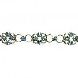Blue Diamante Lucky Flower Fashion Bracelet