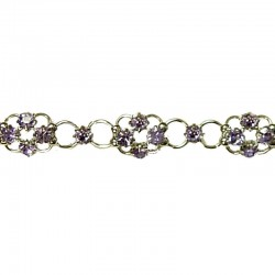 Simple Costume Jewellery Bracelets Accessories, Women Girls Dainty Gift, Lavender Diamante Lucky Flower Fashion Bracelet