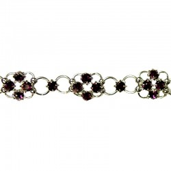 Purple Diamante Lucky Flower Fashion Bracelet