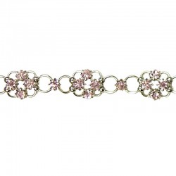 Pink Diamante Lucky Flower Fashion Bracelet