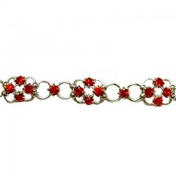 Red Diamante Lucky Flower Fashion Bracelet