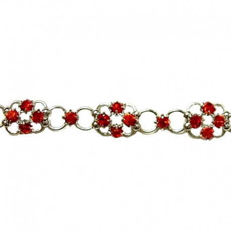 Simple Costume Jewellery Bracelets Accessories, Women Girls Dainty Gift, Red Diamante Lucky Flower Fashion Bracelet