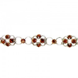 Brown Diamante Lucky Flower Fashion Bracelet