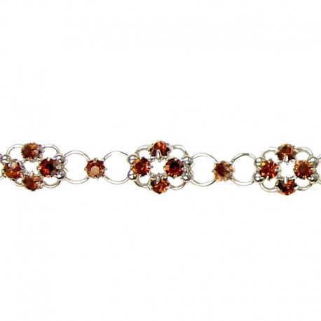 Simple Costume Jewellery Bracelets Accessories, Women Girls Dainty Gift, Brown Diamante Lucky Flower Fashion Bracelet