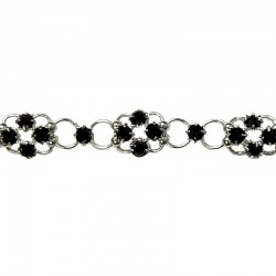 Black Diamante Lucky Flower Fashion Bracelet