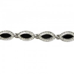 Women's Fashion Jewellery, Black Teardrop Clear Diamante Link Dressy Costume Bracelet