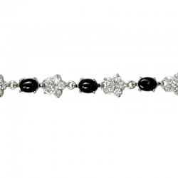 Natural Stone Costume Jewellery Gift, Oval Black Agate Cabochon Clear Diamante Flower Tennis Bracelet