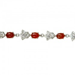 Natural Stone Costume Jewellery, Fashion Women Gift, Classic Oval Red Agate Stone Clear Diamante Flower Tennis Bracelet