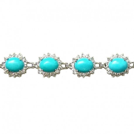 Natural Stone Costume Jewellery, Fashion Women Gift, Cluster Clear Diamante Oval Turquoise Cabochon Bracelet