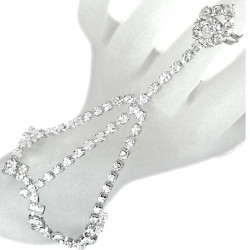 Clear Diamante Hand Harness Style Teardrop Ring Slave Bracelet