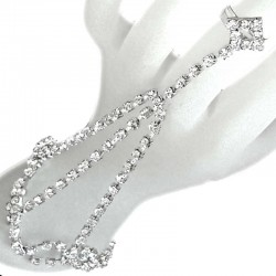 Clear Diamante Hand Harness Style Lozenge Ring Slave Bracelet