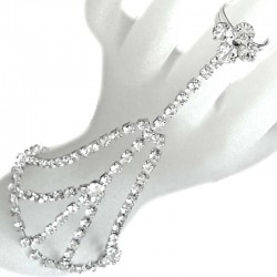Clear Diamante Hand Harness Style Flower Ring Slave Bracelet