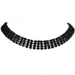 Black Diamante Strap Choker Necklace
