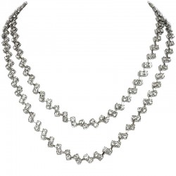 Classic Costume Jewellery, Bridal Wedding Party Fashion Women Gift, Clear Diamante Double Row Dress Necklace