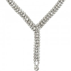 Classic Costume Jewellery, Bridal Wedding Party Fashion Women Gift, Clear Diamante Long Drop Dress Necklace