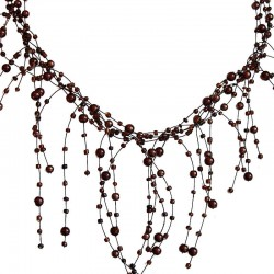 Illusion Brown Pearl Bead Twist Floating Cascade Necklace