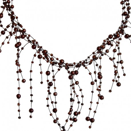 Handcrafted Costume Jewellery. Women Bridesmaid Wedding Dress Gift, Illusion Brown Pearl Bead Twist Floating Cascade Necklace