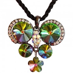 Green Rainbow Diamante Large Butterfly Black Rope Necklace