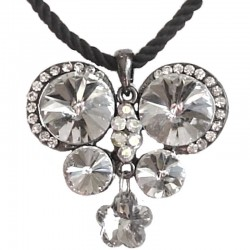 Clear Diamante Large Butterfly Black Rope Necklace
