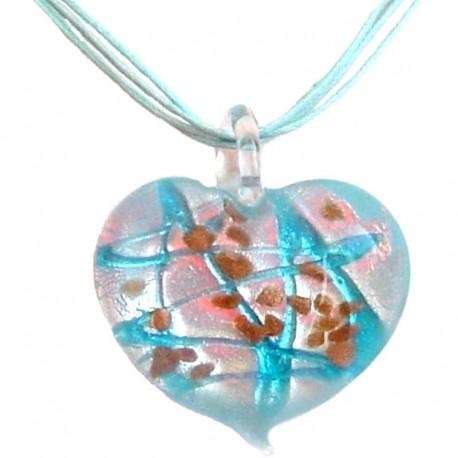 Venetian Glass Bead Rope Costume Jewellery Accessories, Fashion Women Girls Gift, Blue Murano Glass Heart Cord Necklace