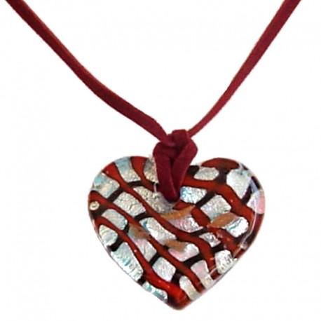 Venetian Glass Bead Rope Costume Jewellery Accessories, Fashion Women Girls Gift, Murano Glass Netting Heart Burgundy Cord Neckl