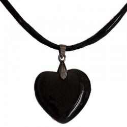 Natural Stone Costume Jewellery Accessoies, Fashion Women Girls Gift, Black Cats Eye Stone Heart Cord Necklace