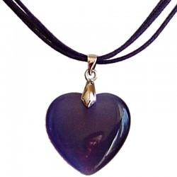 Natural Stone Costume Jewellery Accessoies, Fashion Women Girls Gift, Purple Cats Eye Stone Heart Cord Necklace