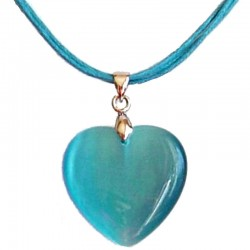 Natural Stone Costume Jewellery Accessoies, Fashion Women Girls Gift, Blue Cats Eye Stone Heart Cord Necklace