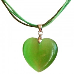 Natural Stone Costume Jewellery Accessoies, Fashion Women Girls Gift, Green Cats Eye Stone Heart Cord Necklace