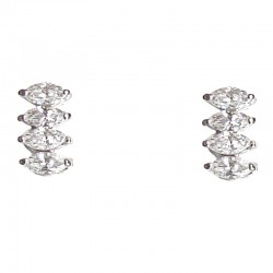 Simple Costume Jewellery Earring Studs, Fashion Women Girls Accessories, Four Clear Diamante Teardrop Stud Earrings