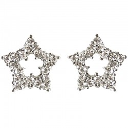 Costume Jewellery Earring Studs, Clear Diamante Large Star Fashion Stud Earrings