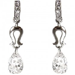 Fashion Women Costume Jewellery, Bride Dress Bridesmaid Gift, Clear Diamante Omega Teardrop Earrings