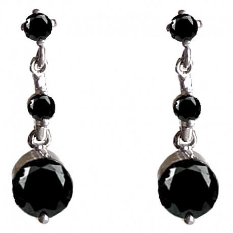 Small short Dangle Costume Jewellery, Fashion Women Bridesmaid Girls Gift Accessories, Black Diamante Dainty Drop Earrings