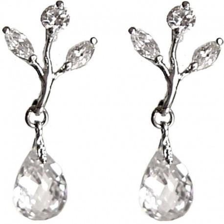 Small Short Dangle Costume Jewellery, Fashion Women Girls Gift Accessories, Clear Diamante Dainty Teardrop Short Drop Earrings