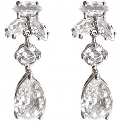 Classic Costume Jewellery Gift, Fashion Women Wedding Party Dress Accessories, Clear Diamante Glamour Teardrop Earrings