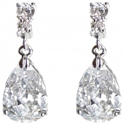 Classic Costume Jewellery Gift, Fashion Women Wedding Party Dress Accessories, Clear Diamante Teardrop Dangle Earrings