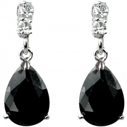 Classic Costume Jewellery Gift, Fashion Women Wedding Party Dress Accessories, Black Diamante Teardrop Dangle Earrings
