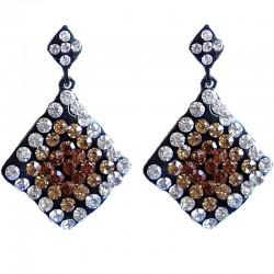Bling Hip Hop Costume Jewellery, Fashion Women Party Dress Accessories, Brown Diamante Wave Lozenge Statement Drop Earrings