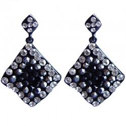 Bold Large Costume Jewellery Earring, Fashion Women Accessories Gift, Black Diamante Wave Lozenge Statement Drop Earrings