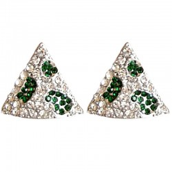 Bling Hip Hop Costume Jewellery, Fashion Women Party Accessories, Green & Clear Diamante Large Triangle Stud Earrings
