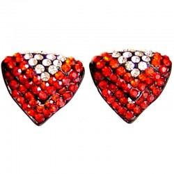 Bling Hip Hop Costume Jewellery, Fashion Women Party Dress Accessories, Red Diamante Large Double Triangle Stud Earrings