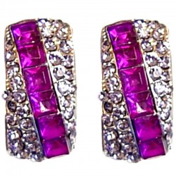 Bling Costume Jewellery Earring Studs, Fashion Women Accessories, Purple Diamante Slash Curved Rectangle Long Stud Earrings
