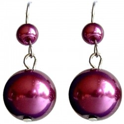 Fake Pearls Simulated Imitation Costume Jewellery, Fashion Women Girls Gift, Fuchsia Faux Pearl Drop Earrings