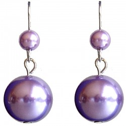 Fake Pearls Simulated Imitation Costume Jewellery, Fashion Women Girls Gift, Purple Faux Pearl Drop Earrings