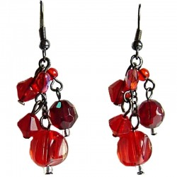 Red Bead Lucky Drop Earrings