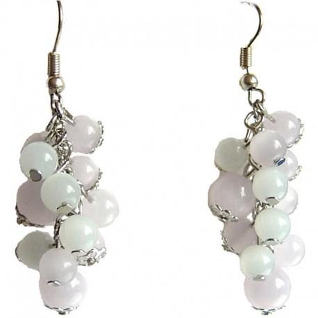 Natural Stone Handmade Costume Jewellery Drop Earrings Fashion Women Accessories Pink White Moon