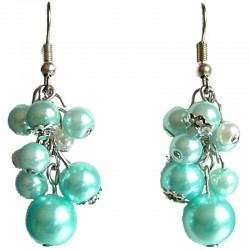 Class Costume Jewellery, Blue & White Faux Pearl Cluster Fashion Drop Earrings
