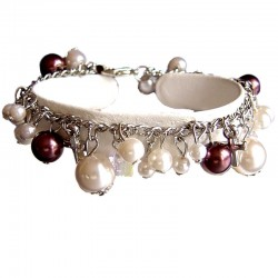Fake Pearls Simulated Imitation Costume Jewellery, Fashion Women Girls Gift, Brown & Beige Faux Pearl Charm Bracelet
